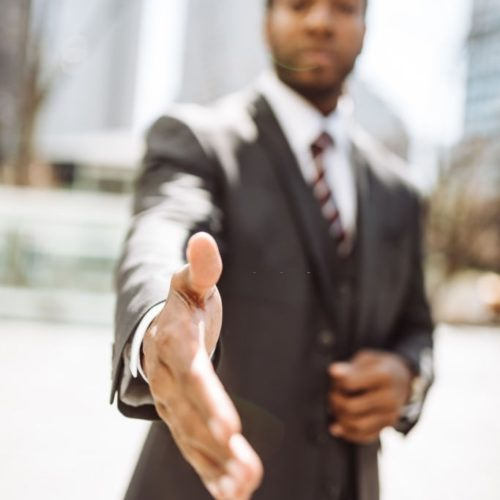 man giving the handshake